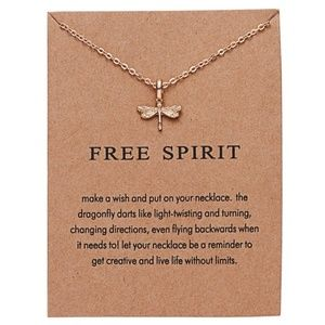 NEW Dainty Gold Dragonfly Pendant Necklace